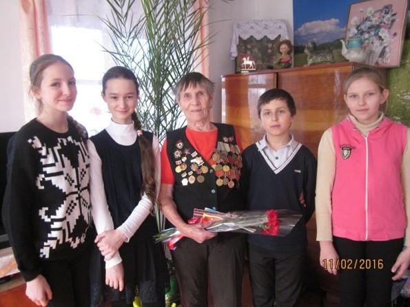 Обучающиеся нашей школы посетили ветерана Великой Отечественной войны Рябыш Людмилу Васильевну